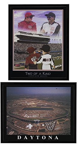 Nascar Legends - –-Dale Earnhardt Junior. & Senior gerahmt Druckvorlage von & Daytona International Speedway Antenne gerahmt Set von 2