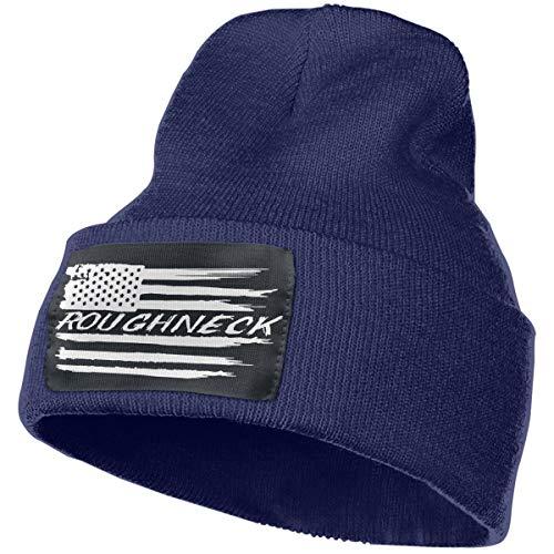 Fudeluoil Roughneck American Flag Unisex Knit Fold Over Beanie Hat Skull Cap for Men and Women Navy