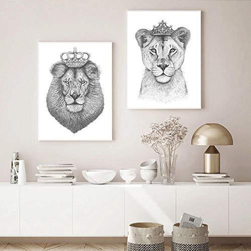 WTYBGDAN Der König der Löwen und die Königin der Löwin Wandkunst Poster Druck Schwarz Weiß Leinwand Gemälde Nordische Moderne Bilder für Wohnzimmer Dekor | 45x65cmx2Pcs / kein Rahmen