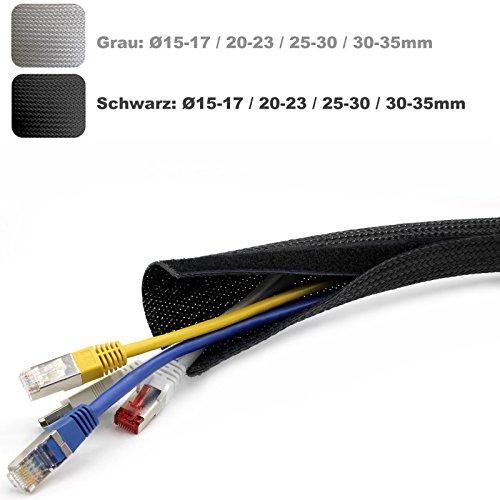 Kabelschlauch 2m Meter Kabel Schlauch Socke Strumpf Klett silber grau 6,45€//m