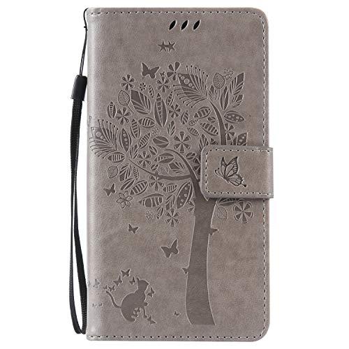 ISAKEN Kompatibel mit Samsung Galaxy Note 4 Hülle, PU Leder Flip Cover Brieftasche Ledertasche Handyhülle Tasche Case Schutzhülle mit Handschlaufe Strap für Samsung Galaxy Note 4 - Baum Katze Grau