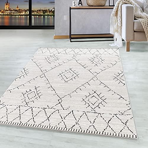 Woonkamer tapijt ROKKO Laagpolig tapijt Berber-stijl patroon Creme kleur, kleur:Room, Groote:160x230 cm
