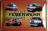 Unbekannt Feuerwehr DDR 112 Fahrzeuge 4 Blechschild Gewölbt Neu 20x30cm S4693