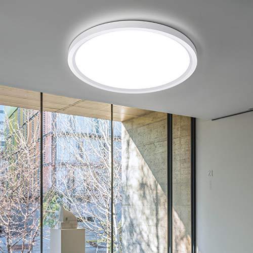 LED Deckenleuchte Ultra Slim, 10W 1200LM Rund Deckenlampe, LEOEU Led Bürodeckenleuchte Flach Neutralweiß 4000K für Wohnzimmer, Schlafzimmer, Kinderzimmer, Flur, Ø21×2.4CM