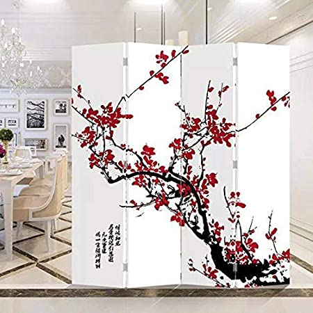 Fine Asianliving Paravent Interieur S/éparateur de Pi/èces L120xH180cm Cloison de S/éparation Amovible Japonai Oriental Chinoi Paravent Toile imprim/é Deco Paravent des Deux C/ôt/és Toile Diviseur