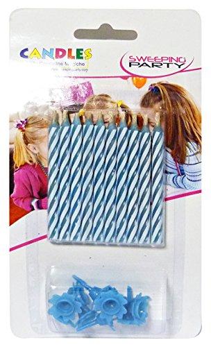 SWEEPING PARTY- Candeline di Compleanno magiche-Non Si spengono mai-10 Pezzi Blu, MVT413