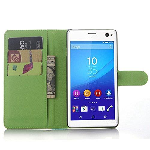 Ycloud Tasche für Sony Xperia C4 Hülle, PU Ledertasche Flip Cover Wallet Hülle Handyhülle mit Stand Function Credit Card Slots Bookstyle Purse Design grün