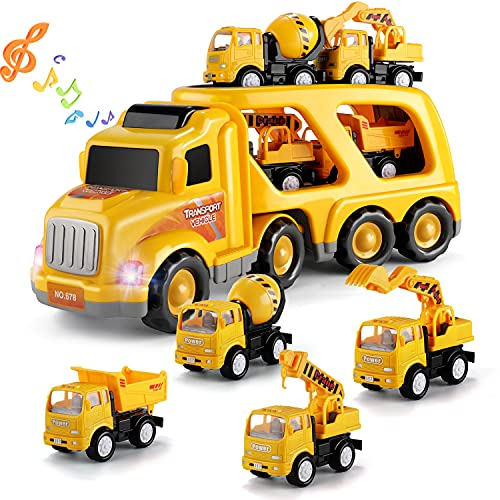 TEMI Construction Vehicles Transport Truck Carrier Toy - with Excavator Mixer Crane Dump, Real Siren Brake Sounds & Lights, Removable Engineering Vehicle Parts, Gift for Kids Boys Girls