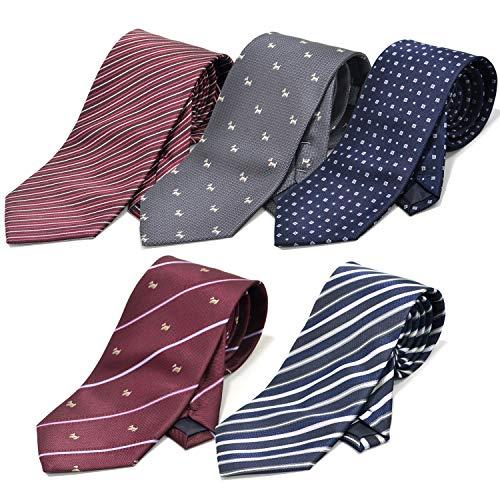 [クリサンドラ] ネクタイ セット 5本 ブランド 洗える ポリエステル 洗濯 出来る ビジネス 無地 ストライプ 小紋 チェック ドット 柄 07