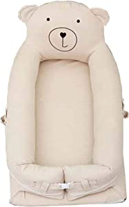 YUELAI Newborn Baby Lounger  Infant Sleeping Nest Pods Breathable and Hypoallergenic Multifunctional Baby Nest  100  Organic Cotton Portable Crib for Bedroom Travel  0-24 Months