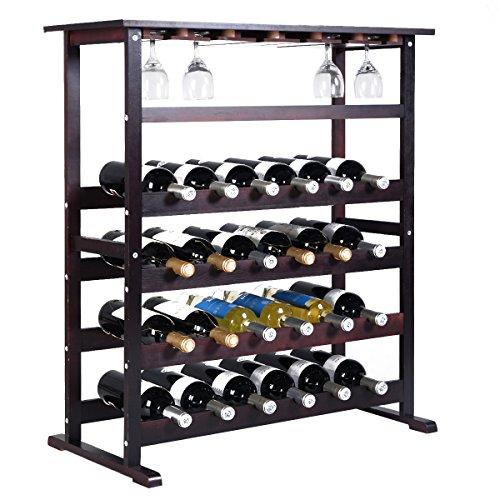 COSTWAY Estante de Vino Botellero para 24 Botellas Madera con Soporte para Copa de Vino Colgante