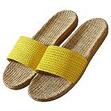 Zapatillas de Lino de Algodn Zapatillas Interior Antideslizantes Unisex Interior Sandalias Casual Zapatillas de Punta de Puertas Abiertas Zapatos de Casa -B / 35/36