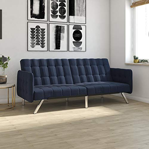 DHP Emily Convertible Futon and Sofa Sleeper, Modern Style with Tufted Cushion, Arm Rests and Chrome Legs, Quickly Converts into a Bed - Blue Linen