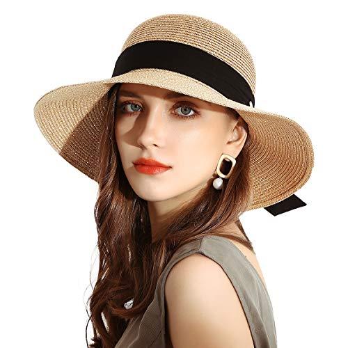 SOMALER Womens Straw Sun Hats Wide Brim Foldable Beach Hats UV UPF 50 Summer Sun Travel Hat for Women