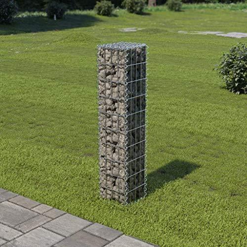 Festnight Gabionenwand mit Abdeckung   Gabione Drahtkorb   Steingabionen Steinkorb   Verzinkter Stahl 20×20×100 cm