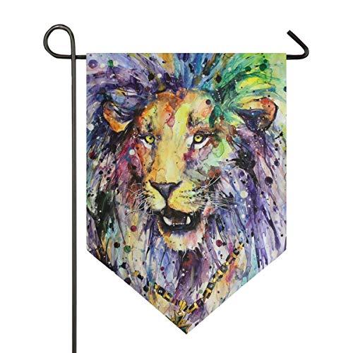 Agnes Carey Garten Flagge 12.5x18 Zoll Zusammenfassung Regenbogen Löwe Tier doppelseitige Hof Dekoration Haus Banner