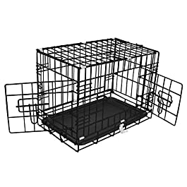 Greenbay Pet Puppy Crate Folding Dog Training Travel Cage with Detachable Tray 18″ Black