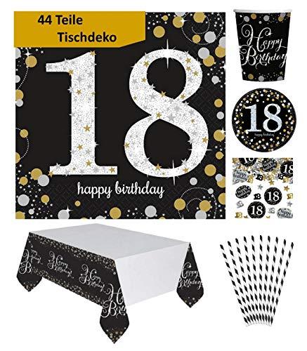Feste Feiern Tischdekoration 18. Geburtstag 44 Teile Deko-Set Tischdecke Servietten Konfetti Teller Becher Gold Schwarz Silber XXL Party-Set Happy Birthday 18