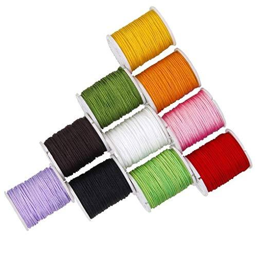 Mingtongli 10 Rollos/set 0.8mm granos de la pulsera trenzada de la línea de nylon collar de la joyería DIY pulsera de tejido de la médula