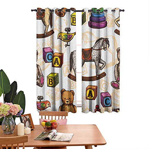 DRAGON VINES Insulated Solid Grommet top Curtains for Kitchen Retro Style Kids Toys Rocking Horse Teddy Bear and Bird Illustration Print Great for Living Rooms and Bedrooms Set of 2 Panels W55 x L62