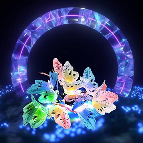DOTTAVR Guirnalda de luces LED solar con mariposas multicolor impermeable para exterior, hogar, jardín, terraza, césped, decoración, iluminación de jardín, hogar, festival (b)