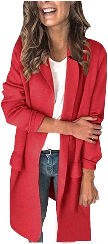 AODONG Cardigan for Women Lightweight Long Sleeve Open Front Knitted Sweater Soft Long Outerwear with Pockets