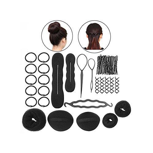 WasonD 8 Tipos de Accesorios para el Cabello Magia Pastillas de La Pinza Braider Esponja Bollo Rosquilla Herramienta de Pelo Peinado Kit de Bricolaje