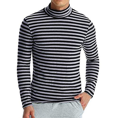 HaiDean Shirts met lange mouwen Mens Mode Gestreepte Herfst Sweatshirt Moderne Casual Winter Mannen Coltrui Lange T Shirt Tops Pullover