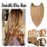 Hidden Wire Hair Extensions Human Hair No Clip in Dark Black 16-20 Inch Long Straight Remy Hair Translucent Wire Invisible Fish Line (20'' #27)