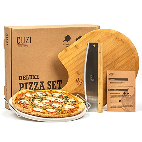 """Cuzi Gourmet XL 3-Piece Pizza Stone Set - 15"""" Thermal Shock Resistant Cordierite Pizza Baking Stone, 22"""" Natural Bamboo Pizza Peel & Pizza Cutter..."""