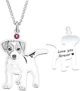 Personalized Pet Photo Necklace for Women Custom Dog Cat Portrait Pendant Engraved Silver Name Necklace