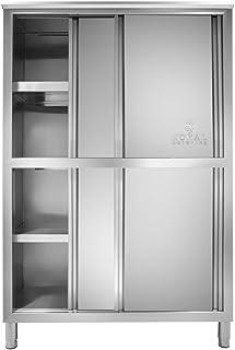 Royal Catering Armoire en Inox Rangement Cuisine RCGE-120 (50x118x180,5cm, 4 étagères, 4 portes coulissantes, pieds réglab...