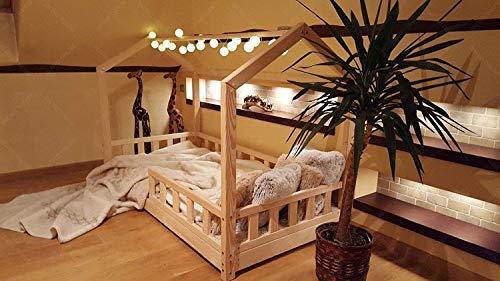 Hyggelia Bett für Kinder, Hausbett, Kinderhaus, Kinderbett Sicherheitbarrieren, 5 Tage Versand (120 x 200 cm, Sicherheitbarieren: Mit)