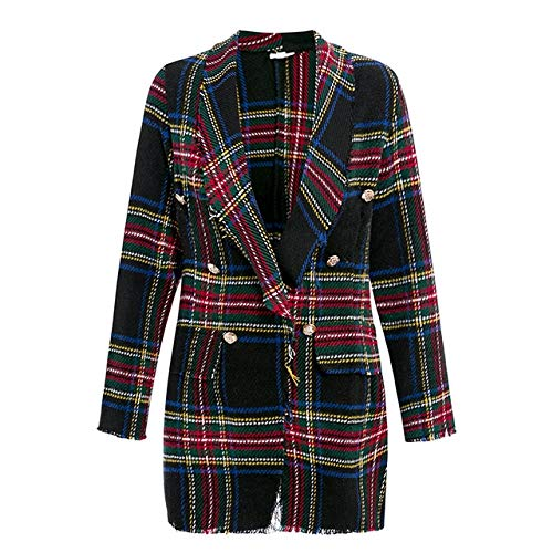 WHBDFY Merk Vrouwen Mode Tweed Plaid Blazer Herfst Winter Vrouwelijke High Street Lange Mouwen Jassen Zakelijke Chic Jassen XL Zwart