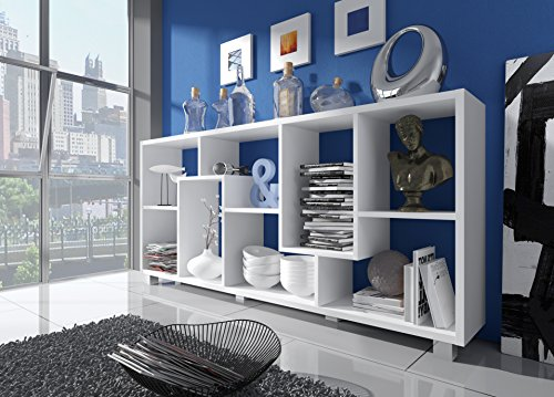 Home Innovation- Scaffale libreria - Divisori design salon-salle pranzo, bianco mate, dimensioni: 68,5 x 161 x 25 cm di profondità