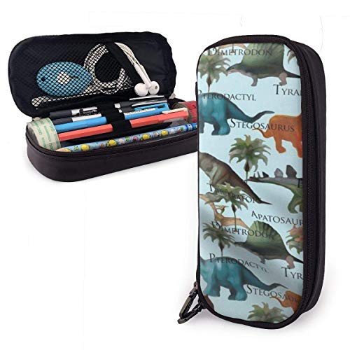 XCNGG Dinosaur Leather Pencil Case Big Capacity Pencil Pouch Large Pencil Holders Makeup Bag Double Zippers for Teen Boys Girls School Students Pens