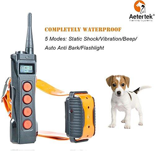 Aetertek Remote Dog Shock Collar 1 Year Warranty 1000M Range 5 Modes (Shock, Light, Vibration, Beep & Auto Anti bark) Safe Dogs Rechargeable & Waterproof Trainer (for 1 Dog)