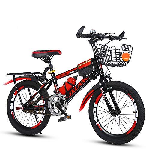 TATANE Student Mountainbike, 6-15 Jahr Alt Baby Boy Mountain Bike Mit Korb Zurück Rahmen, 18/20/22 Zoll Berg Single Speed Fahrrad,Rot,20inch