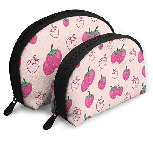 Sac de Maquillage aux Fruits aux Fraises Sacs de Voyage Petit Sac à Coque Sac de Toilette Portable Pochette 2Pcs
