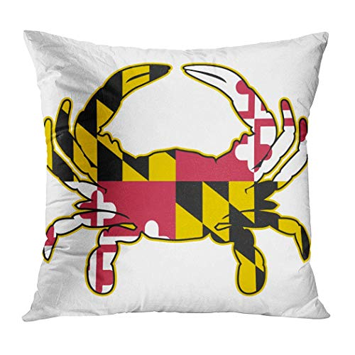 MAY-XCustom Throw Pillow Cover,Maryland Flag Crab Isolated Illustration Pillow Covers,Fashion Travel Pillow Covers For Train Airplane Sleeping,45x45cm