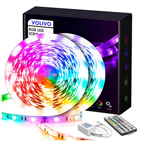 VOLIVO LED Strip Lights for Bedroom 50Ft, Flexible RGB LED Lights 5050 SMD 12V Color Changing LED Rope Lights Strip with Remote for Kitchen Home Party and Holiday Decoration