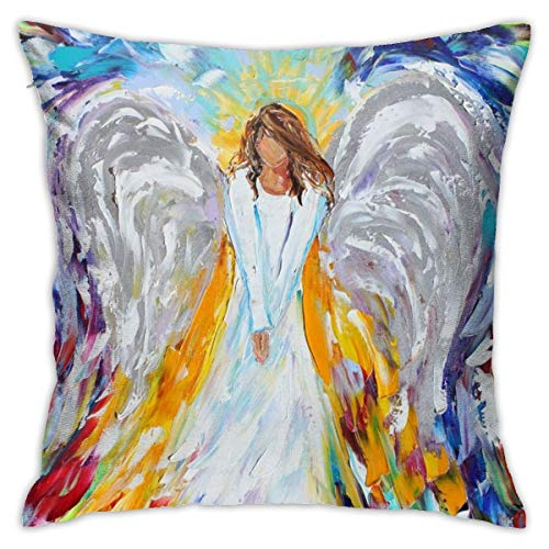Fall Home Decorative Throw Pillow Covers 18x18 Inch, Hidden Zipper, Modern Beautiful Angel Oil Painting Art Pillow Case Cushion Cover for Floor Bedroom Party