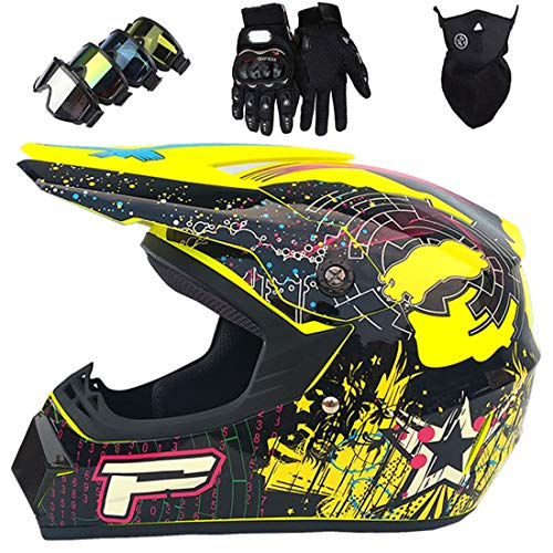 Conjunto de casco de motocross todoterreno para niños con gafas/guantes/máscara, casco MTB de cara completa para adultos, casco de motociclismo MX Scooter Racing Dirt Bike ATV, certificación DOT