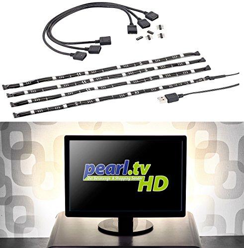 Lunartec Fernsehbeleuchtung: TV-Hintergrundbeleuchtung m. 4 Leisten für 117-177 cm, warmweiß, USB (LED Streifen USB warmweiß)