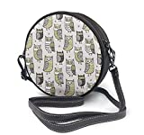 BAODANLA Bolso redondo mujer Round Crossbody Bag Owls Handbag Purse Single Shoulder Bag Sling Bag