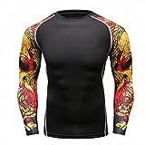 Fanii Quare Men's Soft Slim Long Sleeve Dry-Fit Compression Gym Trainning Shirt Black 01 XL