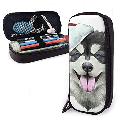 Hund mit dem roten Hut PU-Leder-Federmäppchen, Stifttasche mit großer Kapazität, langlebige Studenten-Schreibwaren-Organisatoren 1,5 Zoll x 3,5 x 8 Zoll