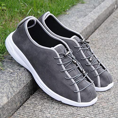 Fit en zacht Comfortabel bovenwerk, schoenen van kalfsleer voor dames en heren - UK3.5_Grijze elastische band, riem met aanraaksluiting Easy Close Boot Slipper