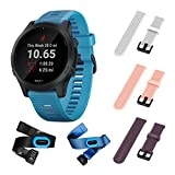 Garmin Forerunner 945 Bundle, Premium GPS Running/Triathlon Smartwatch with Music Included Wearable4U 3 Straps Bundle (White/Pink/Purple)