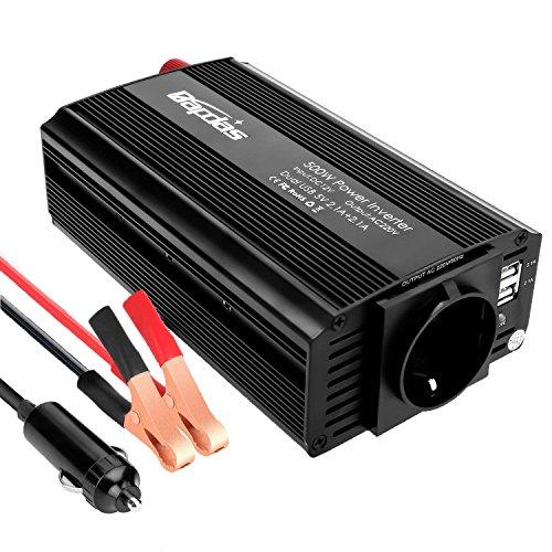 Bapdas 500W Auto Spannungswandler Wechselrichter DC 12V auf 220-230V Power Inverter 2 USB Anschlüsse mit Zigarettenanzünder-Stecker